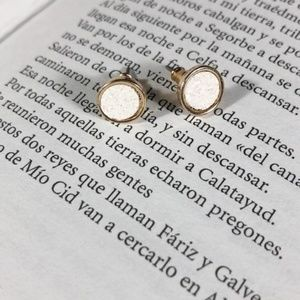 WHITE DRUZZY GOLD STUDS  JEWELED